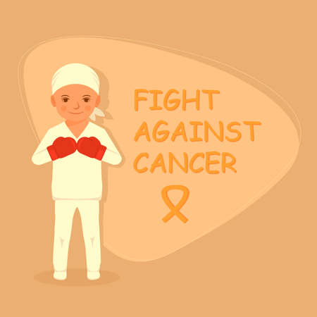kid fighting cancer, chemotherapy treatment, child with tumor Vettoriali