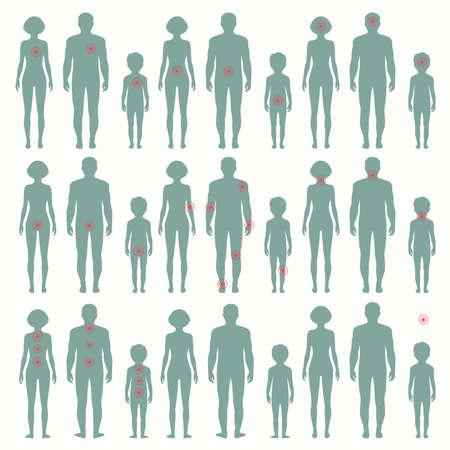 silueta humana: Vector anatomía humana, el dolor de ilustraciones médicas, dolor de cuerpo Vectores