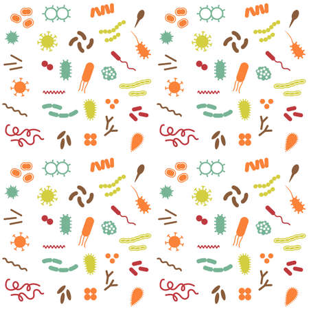 Vector bacteria and virus disease, cell biology icons,