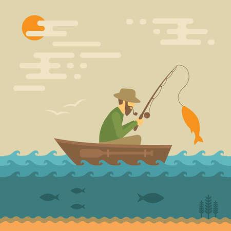 barca da pesca: pesca illustrazione vettoriale, pescatore con canna e pesce Vettoriali