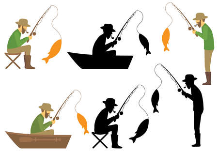 fishing vector illustration, fisherman with rod and fish Vettoriali