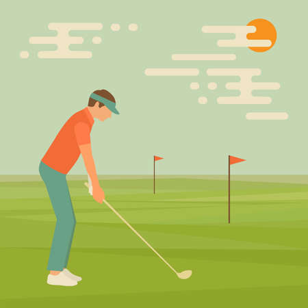 course: golf sport club, vector golfer man, course illustration Illustration