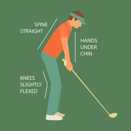 sport club: golf sport club, vector golfer man, course illustration Illustration