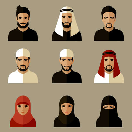 volto uomo: illustrazione vettoriale, popolo arabo, donna araba, uomo arabo