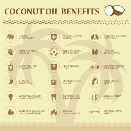palm oil: coconut oil benefits, food infographic, healthy fruit