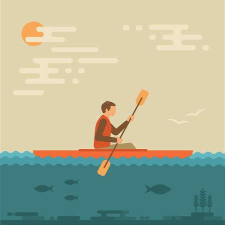 vector illustration kayak, kayaking water sports,  イラスト・ベクター素材