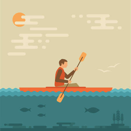 vector illustration kayak, kayaking water sports, 向量圖像