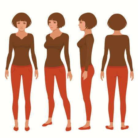 side views: Vector woman cartoon character, young girl illustration