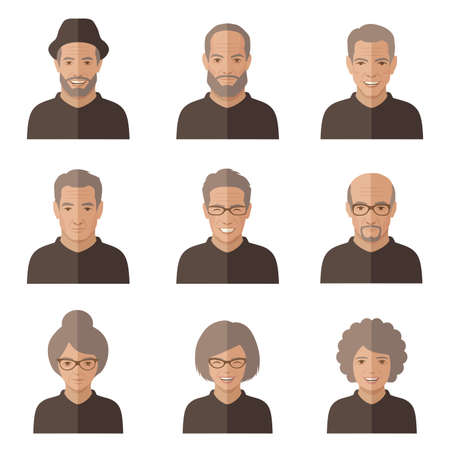vector old people face. Senior cartoon character. man, woman icon  イラスト・ベクター素材