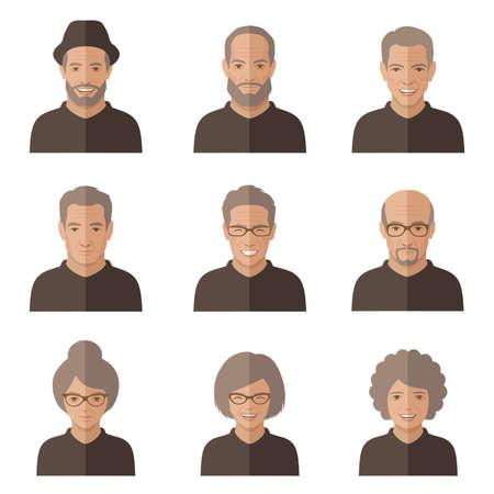 vector old people face. Senior cartoon character. man, woman icon Vettoriali
