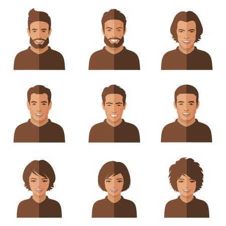 uomo felice: Vector people facce. donna, avatar Cartoon uomo piatta
