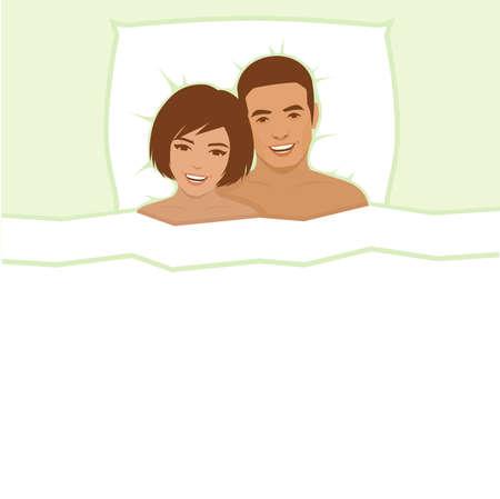 junge nackte m�dchen: Vektor-Illustration, gl�ckliche Paar im Bett, Mann und Frau Illustration