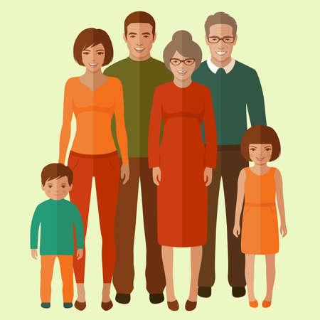happy family: vector happy family portrait, cartoon people illustration Illustration