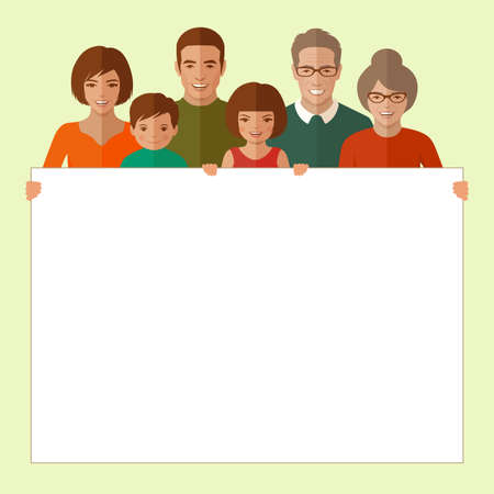 happy family: vector happy family portrait, cartoon people illustration Illustration