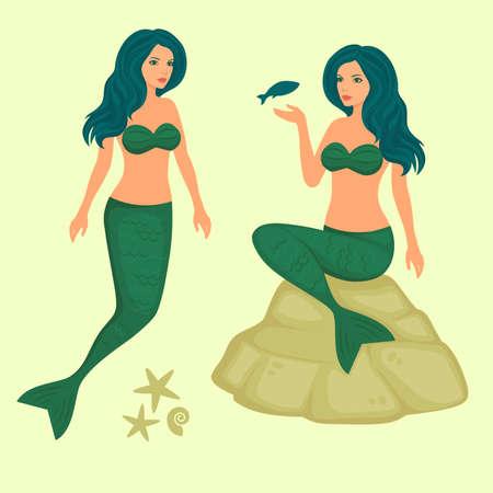 waterpolo: underwater fantasy illustration, vector sea mermaid Illustration