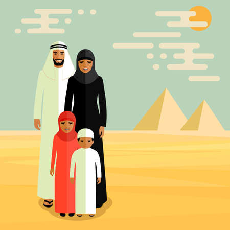 vector family arab, muslim people, saudi cartoon man and woman 일러스트