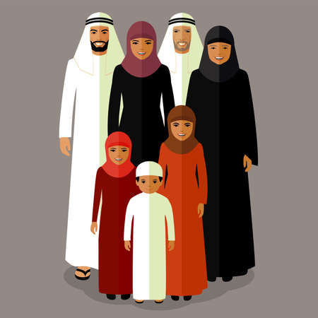 rodzina: Rodzina wektora Arab, muzułmanin ludzie, Arabia kreskówka mężczyzna i kobieta