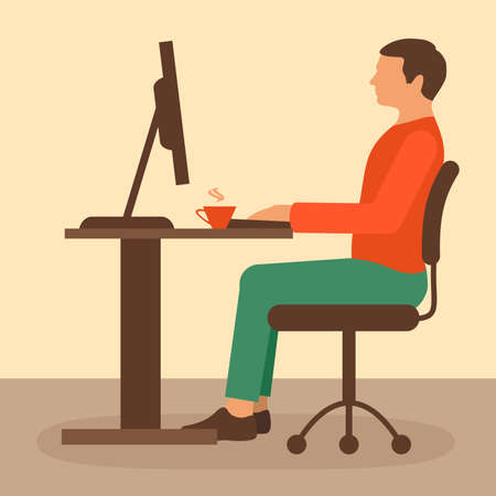 work on the computer: office work, desk worker, computer vector illustration,