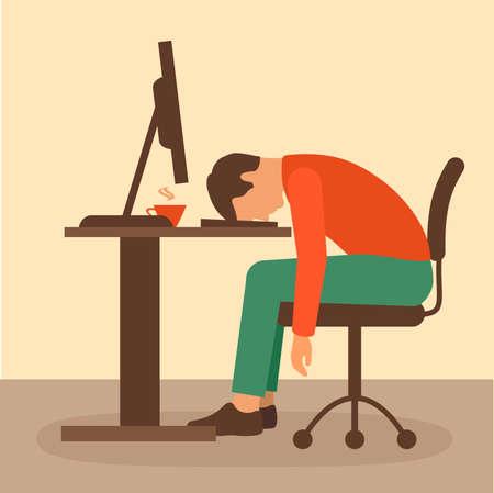 office work, desk worker, computer vector illustration, Vektorové ilustrace