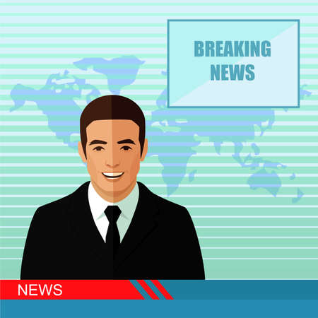 anchorman: TV breaking news, studio reporter, media, vector illustration Illustration