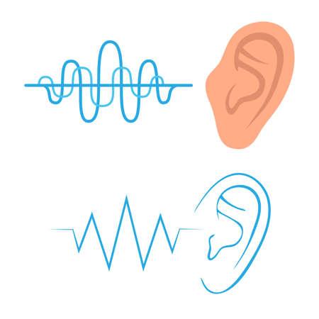 set di icone, ascoltare il suono orecchio, sentendo un simbolo,