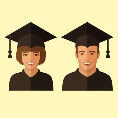 college school education, graduate student, graduation vector illustration Illustration