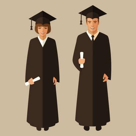 cartoon graduation: educaci�n universitaria, el estudiante graduado, graduaci�n ilustraci�n vectorial