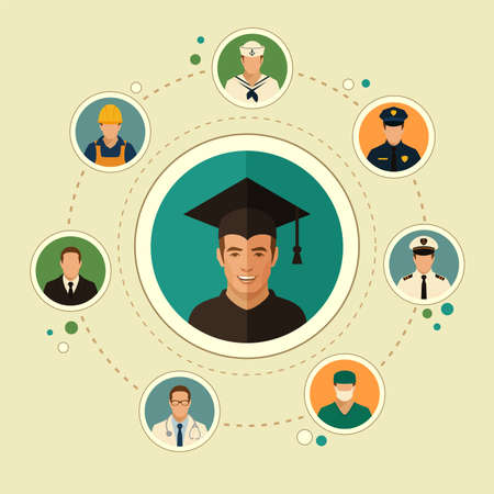college school education, graduate student, graduation vector illustration Illustration