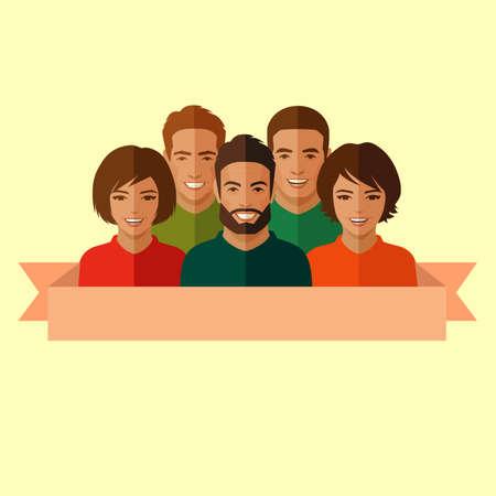 men talking: smile people group, business team, chat dialogue Illustration