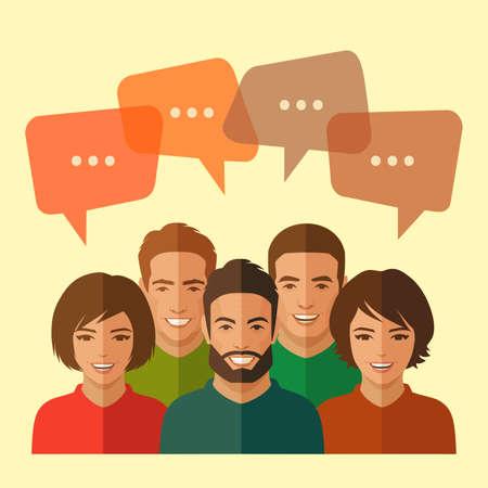 dialogo: sonreír grupo de personas, equipo de negocios, el diálogo de chat Vectores