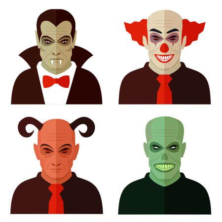 cuernos: personajes de dibujos animados de horror, payaso malvado, diablo miedo, zombi espeluznante, vampiro drácula