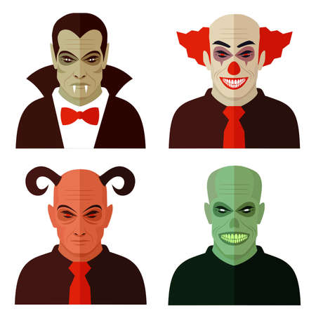horror cartoon characters, evil clown, scary devil, creepy zombie, vampire dracula