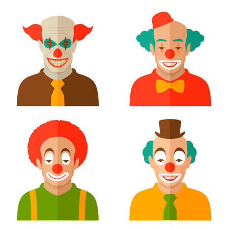 face  illustration: funny cartoon clown face, illustration circus, scary joker smile