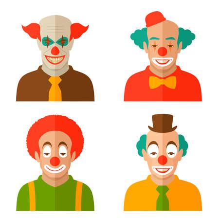 funny cartoon clown face, illustration circus, scary joker smile