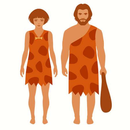 edad de piedra, hombre de las cavernas de dibujos animados, gente primitiva Ilustración de vector