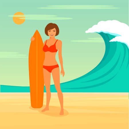 sport woman: woman surfer, surfing sport, girl with surfboard Illustration