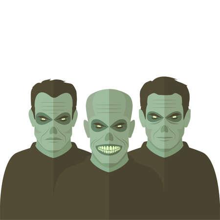 illustration horror, scary cartoon zombies, evil dead man Illustration