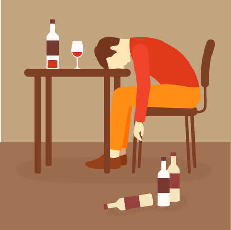alcoholism, alcohol addiction, drunk alcoholic, depression problem Illustration