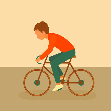 kid riding bike, boy cycling, bicycle cartoon Illustration