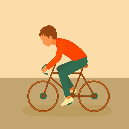 kid riding bike, boy cycling, bicycle cartoon Illustration