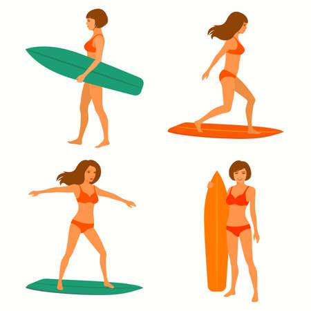 girl sport: woman surfer, surfing sport, girl with surfboard Illustration