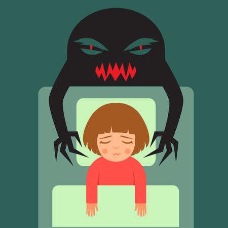 nightmare, vector cartoon illustration of person Having bad dreams Illustration