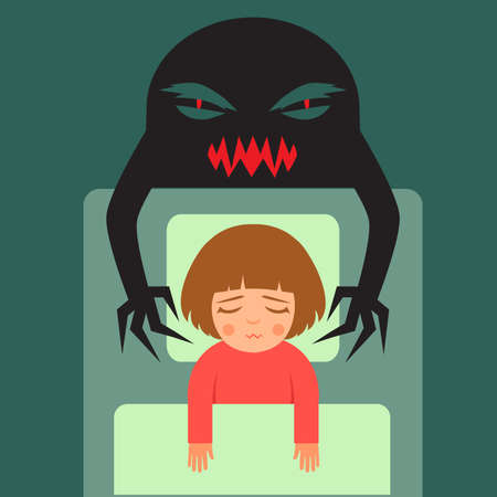girl sleep: nightmare, vector cartoon illustration of person Having bad dreams Illustration