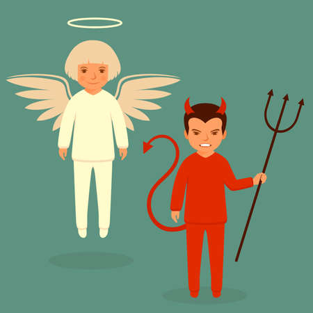 children of heaven: devil and angel, cartoon vector illustration, good and bad character