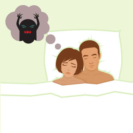 woman lying in bed: nightmare, vector cartoon illustration of person Having bad dreams Illustration