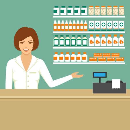 druggist: pharmacist in drugstore, medical shop, vector pharmacy