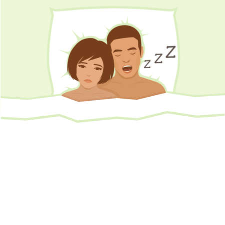 snore: Snoring man. Couple in bed, man snoring and woman can not sleep,