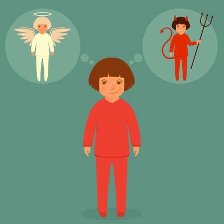 cuernos: diablo y ángel, ilustración vectorial de dibujos animados, el bien y el mal carácter Vectores