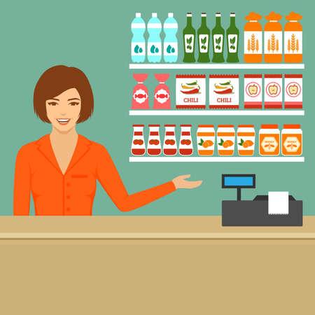 supermarket cashier, food store flat vector illustration,