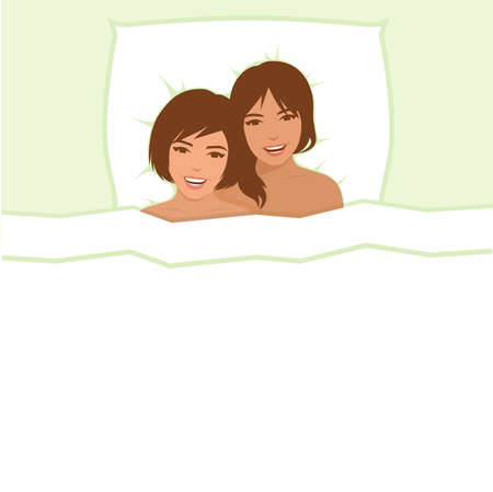 lesbian couple, two women in bed, homosexual love